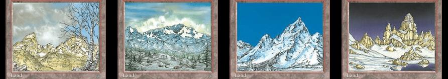 冠雪の山と山3枚